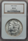 Morgan Dollars: , 1891-O $1 MS63 NGC. NGC Census: (1518/1107). PCGS Population(2130/1517). Mintage: 7,954,529. Numismedia Wsl. Price for pro...