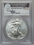 Modern Bullion Coins, 2011-S $1 Silver Eagle, 25th Anniversary Set, First Strike MS70PCGS. Signed on obverse side of coin by John M. Mercanti, 1...