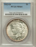 Peace Dollars: , 1923-D $1 MS64 PCGS. PCGS Population (1368/486). NGC Census:(1008/259). Mintage: 6,811,000. Numismedia Wsl. Price for prob...
