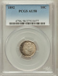 Barber Dimes: , 1892 10C AU58 PCGS. PCGS Population (152/1130). NGC Census:(94/1042). Mintage: 12,121,245. Numismedia Wsl. Price for probl...