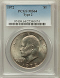 Eisenhower Dollars, 1972 $1 Type Two MS64 PCGS. PCGS Population (446/61). NumismediaWsl. Price for problem free NGC/PCGS c...