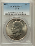 Eisenhower Dollars, 1972 $1 Type Two MS64 PCGS. PCGS Population (446/61). Numismedia Wsl. Price for problem free NGC/PCGS c...