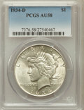 Peace Dollars: , 1934-D $1 AU58 PCGS. PCGS Population (575/4525). NGC Census:(494/3488). Mintage: 1,569,500. Numismedia Wsl. Price for prob...