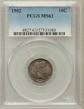 Barber Dimes: , 1902 10C MS63 PCGS. PCGS Population (36/79). NGC Census: (36/76).Mintage: 21,380,776. Numismedia Wsl. Price for problem fr...
