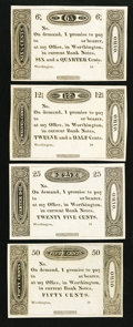 Obsoletes By State:Ohio, Worthington, (OH)- (Ezra Griswold) 6 1/4¢, 12 1/2¢, 25¢, 50¢ 18__.... (Total: 4 notes)