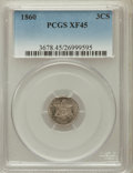 Three Cent Silver: , 1860 3CS XF45 PCGS. PCGS Population (18/318). NGC Census: (10/274).Mintage: 286,000. Numismedia Wsl. Price for problem fre...