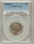 Buffalo Nickels: , 1926-D 5C VF25 PCGS. PCGS Population (33/1161). NGC Census:(21/702). Mintage: 5,638,000. Numismedia Wsl. Price for problem...