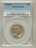 Buffalo Nickels: , 1919-D 5C VF30 PCGS. PCGS Population (36/682). NGC Census:(33/480). Mintage: 8,006,000. Numismedia Wsl. Price for problem ...