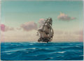 Books:Prints & Leaves, Hunter Wood. Original Signed Painting of the Clipper Ship,Knightingale. Measures 11 x 15 inches. Offsetting. Near fine....
