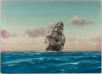 Hunter Wood. Original Signed Painting of the Clipper Ship, Knightingale. Measures 11 x 15 inches. Offsetting. Near fi