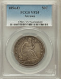 Seated Half Dollars: , 1854-O 50C Arrows VF35 PCGS. PCGS Population (35/575). NGC Census:(6/569). Mintage: 5,240,000. Numismedia Wsl. Price for p...