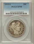 Barber Half Dollars: , 1915-S 50C XF40 PCGS. PCGS Population (45/399). NGC Census:(6/314). Mintage: 1,604,000. Numismedia Wsl. Price for problem ...