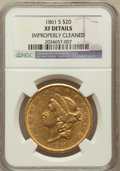 Liberty Double Eagles: , 1861-S $20 -- Improperly Cleaned -- NGC Details. XF. NGC Census:(72/616). PCGS Population (62/348). Mintage: 768,000. Numi...