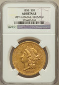 Liberty Double Eagles: , 1858 $20 -- Cleaned, Obverse Damaged -- NGC Details. AU. NGC Census: (37/251). PCGS Population (44/98). Mintage: 211,714. N...