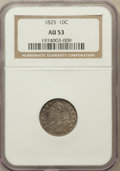 Bust Dimes: , 1825 10C AU53 NGC. NGC Census: (3/71). PCGS Population (6/57).Mintage: 410,000. Numismedia Wsl. Price for problem free NGC...