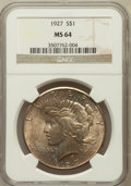 Peace Dollars: , 1927 $1 MS64 NGC. NGC Census: (973/122). PCGS Population(1708/294). Mintage: 848,000. Numismedia Wsl. Price for problemfr...