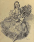 Pin-up and Glamour Art, GIL ELVGREN (American, 1914-1980). Miss Sylvania. Pencil ontracing paper. 21.5 x 17.75 in. (image). Signed lower right...