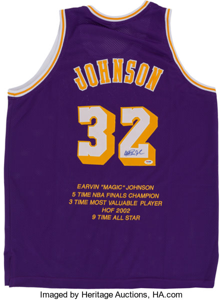 035715b2e94 Magic Johnson Signed Los Angeles Lakers Jersey.... Basketball