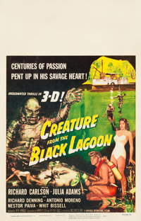 "Creature from the Black Lagoon (Universal International, 1954). Window Card (14"" X 22"") 3-D Style"