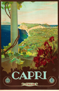 "Capri, Italy Travel Poster by Mario Borgoni (ENIT, Late 1920s-Early 1930s). Poster (25"" X 40.5"")"