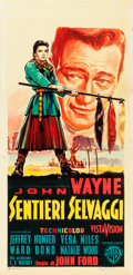 "Movie Posters:Western, The Searchers (Warner Brothers, 1956). Italian Locandina (13"" X27.5""). Western.. ..."