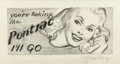 """Paintings, MCCLELLAND BARCLAY (American, 1891-1943). """"You're Taking the Pontiac? I'll Go!"""", preliminary advertisement. Pencil on tr..."""