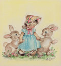 Mainstream Illustration, MARJORIE COOPER (American, 20th Century). Little Girl withBunnies, The Norcross Greeting Card Collection. Pencil andwa...