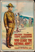 "Movie Posters:War, Who Leads the National Army! (Triangle, 1917). WW I RecruitmentFilm One Sheet (27.5"" X 41""). War.. ..."