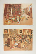Books:Prints & Leaves, K. Hewitt. The Bookish Pigs. Group of Five Signed andNumbered Color Prints. 1980. 16 x 20 inches. Limitation of...