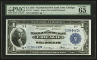 Fr. 727 $1 1918 Federal Reserve Bank Note PMG Gem Uncirculated 65 EPQ