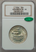 Commemorative Silver: , 1936 50C Wisconsin MS66 NGC. CAC. NGC Census: (1235/380). PCGSPopulation (1529/458). Mintage: 25,015. Numismedia Wsl. Pric...