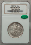 Commemorative Silver: , 1937-D 50C Oregon MS65 NGC. CAC. NGC Census: (511/1495). PCGSPopulation (955/1809). Mintage: 12,008. Numismedia Wsl. Price...