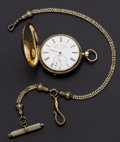"Timepieces:Pocket (pre 1900) , Tobias ""Railroad Time Keeper"" Gold Hunter's Case Pocket Watch . ..."