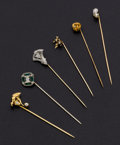 Estate Jewelry:Brooches - Pins, Diamond, Cultured Pearl, Glass, Gold Stickpin Lot. ... (Total: 6Items)