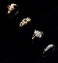 Estate Jewelry:Rings, Diamond, Sapphire, Ruby, Gold Ring Lot. ... (Total: 4 Items)