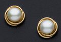 Estate Jewelry:Earrings, Cultured Mabe Pearl, Gold Earrings. ...