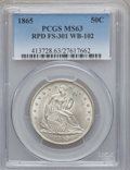 Seated Half Dollars, 1865 50C Repunched Date MS63 PCGS. WB-102, FS-301....