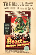 "Movie Posters:Science Fiction, The Beast from 20,000 Fathoms (Warner Brothers, 1953). Window Card(14"" X 22"").. ..."