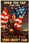 "Movie Posters:War, World War I Propaganda (Ketterlinus, Phil., US Govt, 1918). ThirdLiberty Loan Poster (20"" X 30"") ""Over the Top, For You"" by..."