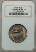 Commemorative Silver: , 1936 50C Wisconsin MS66 NGC. NGC Census: (1235/380). PCGSPopulation (1529/458). Mintage: 25,015. Numismedia Wsl. Pricefor...