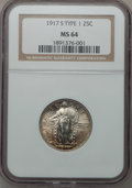 Standing Liberty Quarters, 1917-S 25C Type One MS64 NGC....