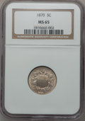 Shield Nickels, 1870 5C MS65 NGC....