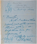 Autographs:Military Figures, [Charles Darwin]. Admiral Robert FitzRoy Autograph LetterSigned....