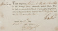 Autographs:Military Figures, Admiral Sir Hyde Parker Oath Signed....