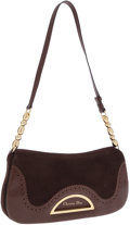 Luxury Accessories:Bags, Christian Dior Brown Suede and Leather Pochette Shoulder Bag. ...