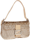 Luxury Accessories:Bags, Fendi Champagne Metallic Sequined Fendi Baguette Bag with BeigeSnakeskin Trim and Interior. ...