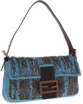 Luxury Accessories:Bags, Fendi Blue Satin and Beaded Baguette Bag with Lizard Clasp. ...