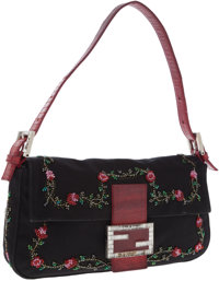 Fendi Black Satin and Red Lizard Baguette Bag with Beaded Roses