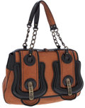 Luxury Accessories:Bags, Fendi Brown Leather and Black Patent Leather B-Bag Shoulder Bag....