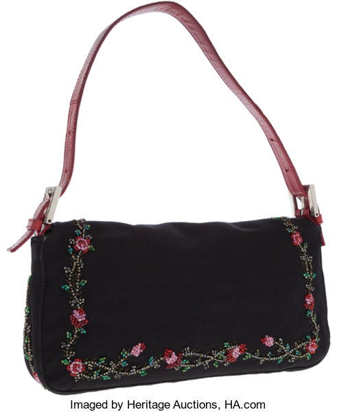 621a4df400e9 Fendi Black Satin and Red Lizard Baguette Bag with Beaded